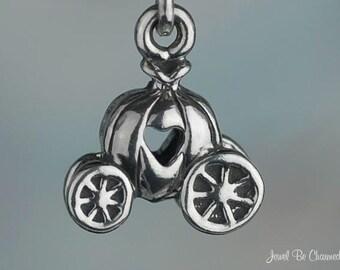 Sterling Silver Cinderella Pumpkin Coach Fairy Tale Carriage Charm 925