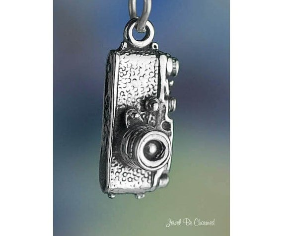 Sterling Silver Camera Charm Cameras for Photographer 3D Solid .925