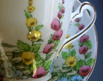 Hollyhock Flowers Tea Cup and Saucer by Salisbury  - Pink Yellow and Blue Flowers- Wedding Table Setting