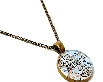 Manila, Philippines 1972 Map Necklace. Ready To Ship. Map Pendant. Map Jewelry. Adelaide Travel Gifts For Her. Resin Pendant.
