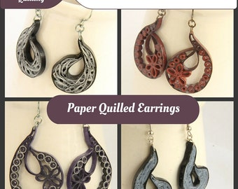 Tutorial for Paper Quilled Paisley Earrings PDF  - Indian inspired eco friendly jewelry