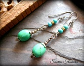 Natural Genuine Turquoise Stone Earrings, Southwest Earrings, Gemstone Drop Earrings, Oxidized Rustic Earrings, Turquoise Jewelry