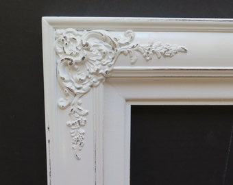 Ornate Chunky Cottage Chic White Picture Frame distressed holds 9 x 12 picture