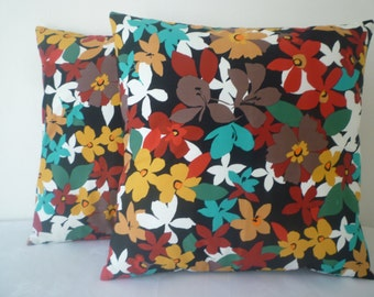 Decorative Pillow Covers PAIR Orange Red Funky Floral Multi colour Black Back Designer Cushion Cover Throw Scatter Sofa (40cm)