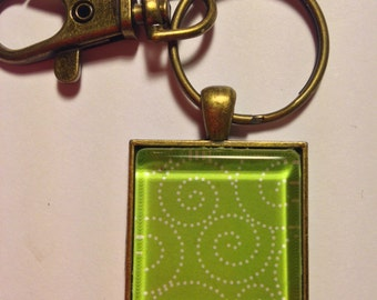 Hand Made Key Chain  --  NEW  -- Green and White Flourish Pattern  --  Handmade Key Chain  --  One of a Kind  --  (#1576)