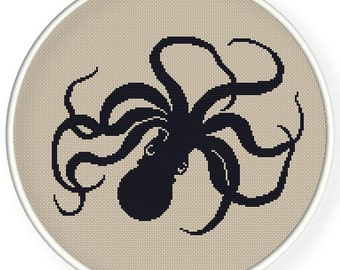 Instant  Download,Free shipping,Cross stitch pattern, PDF,vintage octopus ,zxxc0566