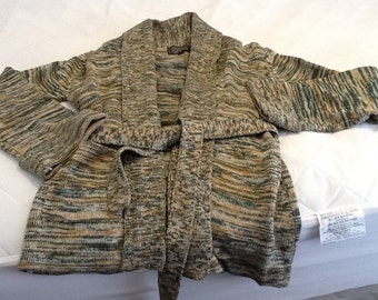 Vintage Wrap Around Woman's Sweater Small Green Tan Gray