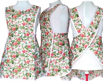 Plus size Apron, Shabby Chic Pink and Redish Roses in a Cross Back Apron Style - Size 2X only