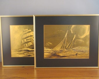 Vintage Pair of Framed Brass Sailboat Etchings (Nautical) (Ship)