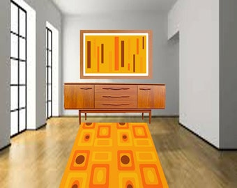 Modern Rug, Orange Rug, Striped Rug,Geometric Rug, Area Rug, Modern Part 60