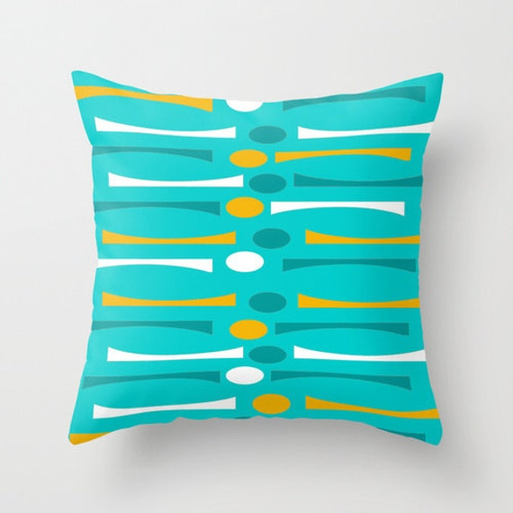Turquoise Outdoor Pillow Modern Outdoor Pillow Mid Century