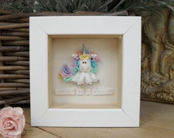 Personalised Framed Sitting Unicorn, Choice of Frame