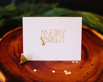 Merry and Bright modern holiday greeting card with Envelope, 1 CT, Foil Stamped