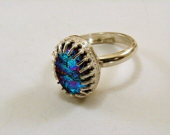 Dichroic Glass and Sterling Silver Ring - Size 6, Can be resized