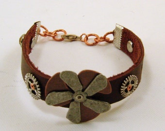 Leather Steam Punk Mixed Metal Bracelet, Leather Bracelet