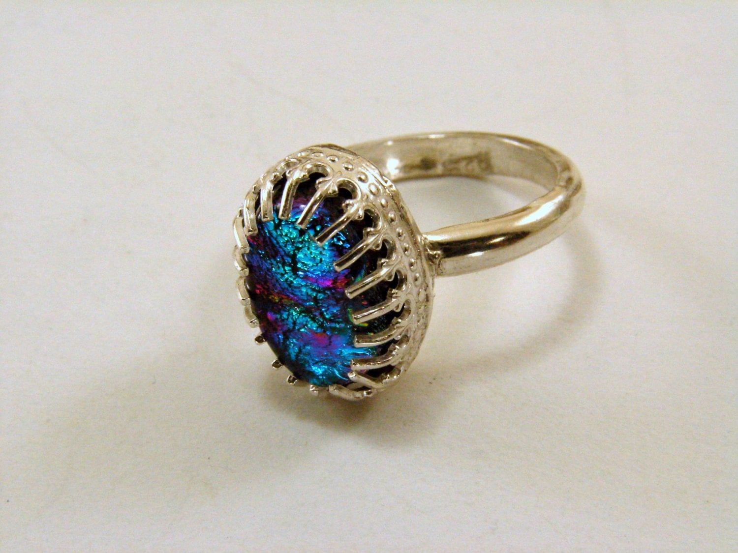 dichroic glass and sterling silver ring size 6 can be