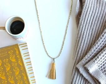 Mustard Tassel Necklace, Tassel Necklace, Leather tassel, Build your own necklace, DIY necklace kit