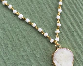 Dainty White Druzy Short Necklace