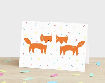 Foxes Party Greetings Card-fox wedding anniversary engagement happy birthday new baby mothers fathers day thank you marriage celebration