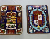2 CANADA Enamel on Copper Cloisonne Pin Dish Trays 1903
