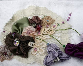 Ribbonwork Ribbon Work Fuschias Flowers Lingerie or Jewelry Bag Travel Bag Bride Wedding Gift Romantic Gift for Her Purples and Lace