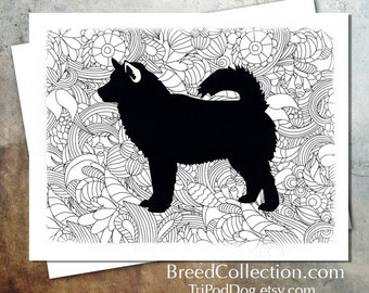 Alaskan Malamute Sled Dog Zentangle Silhouette Card from the Breed Collection - Digital Download  Printable