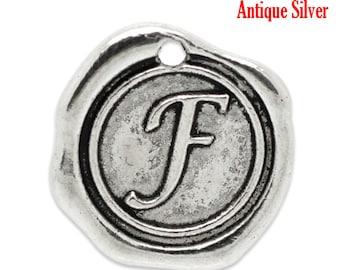 """5pcs. Antique Silver LARGE Letter """"F"""" Alphabet Letter - 18mm x18mm - Wax Design"""