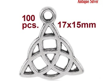 100pcs. Antique Silver Celtic Knot Charms Pendants - 17x15mm