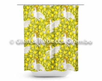Shower Curtain, Cockatoos and Lemons, Bathroom Decor, Art Nouveau, Birds, Yellow, Green, Parrots
