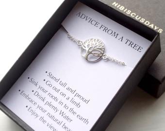 Tree of life bracelet, with message card, family tree bracelet, sterling silver tree, friendship bracelet