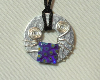 Metal Washer Pendant, Beaded Metal Washer Necklace, Blue Glass Beaded  Necklace