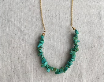 SALE Turquoise bead chips necklace on gold plated chain | FREE gift wrapping
