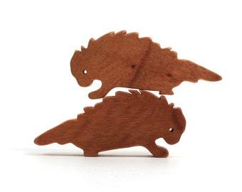 Wooden Porcupine Toys Waldorf Tiny Wood Noah's Ark Animals Woodland Animals Play Set Miniature Porcupine Figurine