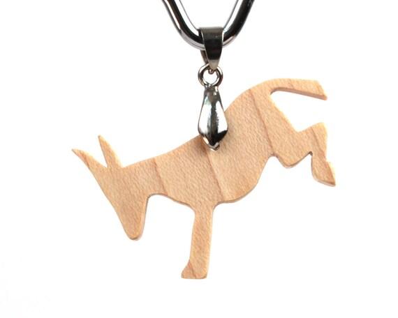 Democrat Donkey Pendant, Wood Bucking Donkey Necklace, USA Election 2016 Jewelry, Political Necklace, Liberal Politics Pendant,Maple