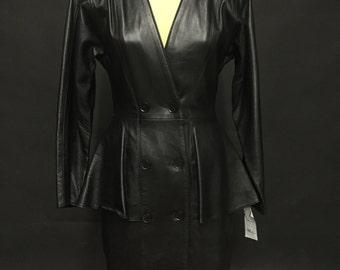 Amazing! 1980s Black Leather Coat Dress by VAKKO(AVAILABLE)