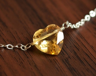 Heart Shaped Citrine Necklace, Gemstone Jewelry, Golden Yellow Stone, Wire Wrapped, Sterling Silver, November Birthstone Jewelry for Girls