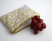 Reusable Bag, Food Storage Bag, Gold, Custom Made,  Handmade by Zookaboo, YOU Pick Size - Snack, Sandwich, or Gallon
