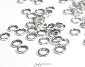 6mm Round Links, Soldered Closed, Jewelry Connector,  6x1mm Round Loops, Antique Silver Pewter, Lot Size 50 to 200, #1365