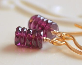 Rhodolite Garnet Earrings, Sterling Silver or Gold Drop Earrings, Raspberry Dark Plum, Semiprecious Gemstone Jewelry, Free Shipping