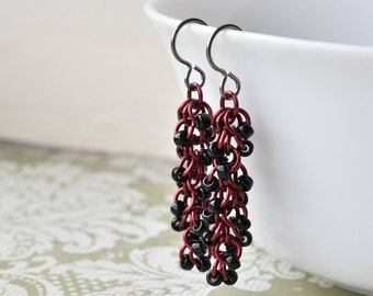 Titanium Earrings, Black and Red Earrings,  Chainmaille Shaggy Loop, Hypoallergenic, Chainmail, Black Bead Earrings, UK Earrings