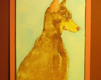 "DOBERMAN PINSCHER CARD, Original Handmade Watercolor (""Blank Inside"")"