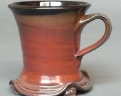 Skirted Mug with Feet Rust Red Glossy Black Handmade Pottery Footed