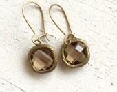 Rustic Glam Earrings in Smoky Quartz