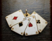 Rare antique french enameled medal with playing cards - Jewelry from France for Repurposed Projects - Aces Casino poker themed