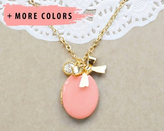 Coral Gold Locket with Gold Bow and Stud Charms