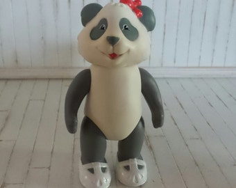 Vintage 1980s unusual Mayborn anthro Panda Bear toy doll.12cm tall with maryjane shoes.