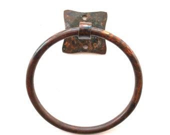 Hand Forged Iron Square Based Hammered Towel Ring by VinTin