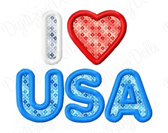 I Love USA 2 Applique Machine Embroidery Design 4x4 5x7 Heart Independence Day 4th of July Patriotic INSTANT DOWNLOAD