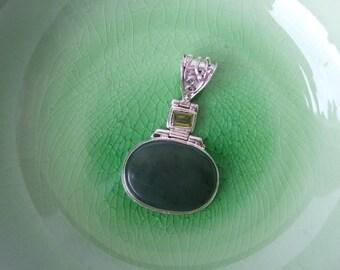 Agate and  Silver Pendant - Destash