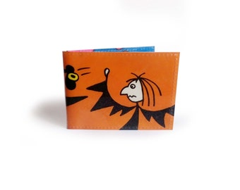 Meg & Mog - Upcycled Travel Card Holder - Metro, Oyster, Rail - Cat Witch Owl Halloween